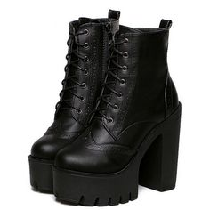 Black Faux Leather PU Chunky Fashion Winter Short PU Almond Toe High heeled Platform Boots, EUR35, EUR36, EUR37, EUR38, EUR39 Black Style: Fashion.