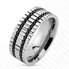 Multi Grooved Double Black Wires Ring, Men's