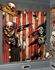 scary clown decorations scene setter 5ft - Scary Clown Halloween Decorations