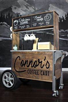 Looking for the ultimate IKEA play kitchen hack? Check out how we transformed the DUKTIG mini kitchen into a play coffee cart with functional wheels! Mobile Coffee Cart, Mobile Coffee Shop, Mobile Food Cart, Food Stall Design, Food Cart Design, Food Truck Design, Coffee Carts, Coffee Truck, Coffee Drinks