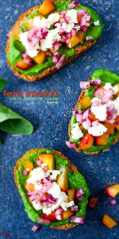 Peach Bruschetta with an amazingly refreshing and yummy green sauce, caramelized peach, feta and onion. These make the yummiest party food in summer! | giverecipe.com | #peach #bruschetta #avocado #healthyrecipes #partyfoods #partyrecipes #bruschettarecipes