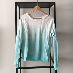 Zara Trafaluc Ombre Knit Sweater White to teal ombre knit sweater. Size S. Worn only once!!! Really good condition. Zara Sweaters Crew & Scoop Necks