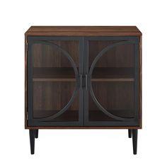 Gracie Oaks Violetta 2 Door Accent Cabinet & Reviews | Wayfair Bar Storage Cabinet, Industrial Storage Cabinets, Modern Bar, Modern Industrial, Industrial Design, Glass Tv Stand, Console, Tempered Glass Door, Dark Walnut