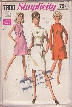 MOMSPatterns Vintage Sewing Patterns - Simplicity 7800 Vintage 60's Sewing Pattern LOVELY Mod Space Age Funnel Away From Neck Front Panelled Twiggy Dres, Sash Belt Size 16