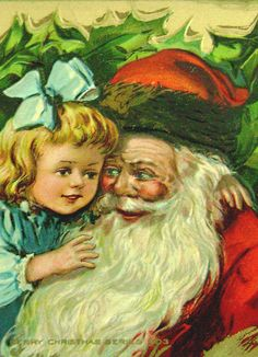"""""""Merry Christmas"""" Series Postcard... Santa Claus with a Child."""