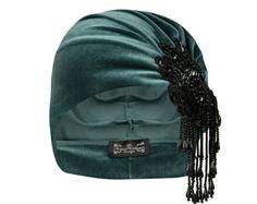 Vivien Asymmetrical Bead Turban in Sage