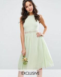 TFNC WEDDING Embellished Midi Dress with Full Skirt