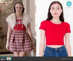 Chanel 3's red KKT top and chevron knit skirt on Scream Queens.  Outfit Details: https://wornontv.net/54742/ #ScreamQueens
