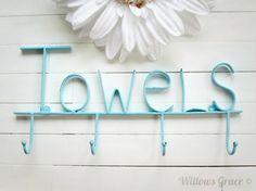 Aquamarine Pool Sign / Towel Holder / Pool Decor / Beach Decor / Towel Hooks / Bathroom Accessories / Pool Towel Rack / Pool Towel Hook