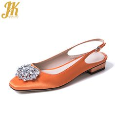 9ea2c2eca7bf JK Famous Brand Women Pumps Satin Summer Buckle Back Strap Handmade Shoes  Women Square Heel Crystal Silk Square Toe Footwear.