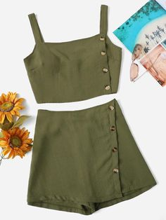 Shop Button Side Crop Cami Top With Shorts online. SheIn offers Button Side Crop Cami Top With Shorts & more to fit your fashionable needs. Girls Fashion Clothes, Teen Fashion Outfits, Girly Outfits, Look Fashion, Girl Fashion, Clothes For Women, Two Piece Outfits Shorts, Crop Top Outfits, Cute Summer Outfits