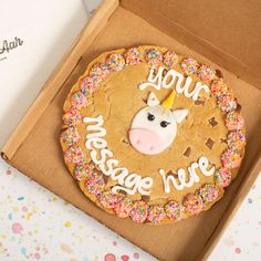 Add a personalised message to this super sweet Giant Unicorn Chocolate Chip Cookie! Giant Chocolate, Chocolate Chip Cookies, Use Of Capital Letters, Special Symbols, Pink Icing, Little Unicorn, Unicorn Gifts, No Bake Cookies, Unicorns