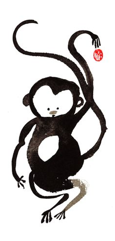 Year of the Monkey 2016, in the Chinese Zodiac, one-of-a-kind sumi ink painting for the zen concept of Monkey Mind Happy New Year 2016. Comes with a