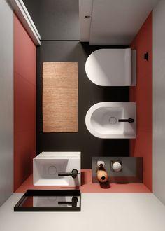 Discover all the bathroom sanitary ware made by GSI ceramica. Casa Milano, Small Space Bathroom, Concrete Bathroom, Room Tiles, Bathroom Toilets, Bathroom Faucets, Interior Design Magazine, Style Tile, Bathroom Interior
