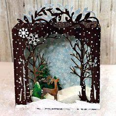 Sizzix Tis the Season Holiday Shadowbox Thinlits DieCreate a winter or Christmas card that they're sure to remember with the Holiday Shadowbox Thinlits Die Set that is part of the 'Tis the Season Collection Year Old Arts And Crafts Refferal: 3585 3d Cards, Pop Up Cards, Xmas Cards, Folded Cards, Christmas Shadow Boxes, Christmas Crafts, Christmas Decorations, Homemade Decorations, Snowflake Decorations