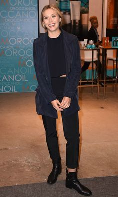Olsens Anonymous Blog Stye Fashion Elizabeth Olsen Minimal Navy Blue And Black TIFF Silk Jacket Crop Top Cuffed Pants Leather Boots