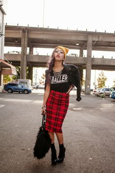 Quirky, urban, and so rad–Aika, the blogger behind Aika's Love Closet combines leather and plaid in the coolest way to style the DEENY (don'...