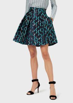 Silk-blend full skirt with irregular chevron motif | Woman | Emporio Armani Armani Women, Emporio Armani, Chevron, Boutique, Silk, Virtual Closet, Skirts, Woman, Design