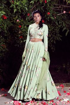 Ivory printed embellished blouse and printed tiered skirt Lehenga Crop Top, Floral Lehenga, Chanya Choli, Indian Wedding Outfits, Wedding Dress, Full Circle Skirts, Lakme Fashion Week, Indian Dresses, Western Dresses