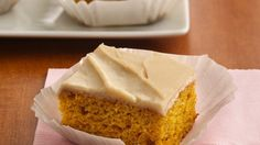 Orange-Spice Pumpkin Bars with Browned Butter Frosting recipe and reviews - Tempting flavours of pumpkin pie and warm, buttery frosting--what could be better on an autumn afternoon?