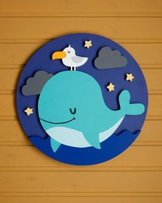 Items similar to Sweet Dreams Circle, Wood Wall Decor Wood Art Baby Room Kids Room Whale on Etsy - Babyzimmer Ideen Foam Crafts, Diy And Crafts, Crafts For Kids, Paper Crafts, Diy Paper, Baby Room Art, Baby Room Decor, Wood Art, Wood Wood