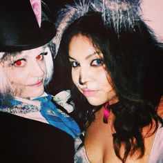 Steampunk March Hare & Alice's cat Dinah for an Alice in Wonderland 30th birthday party! I love utilizing theatre makeup for fancy dress parties :3  #dinah #marchhare #aliceinwonderland