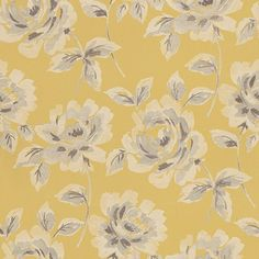 Floral Rose  (128018) - Esta Home Wallpapers -  An elegant floral rose design in a hand painted watercolour effect shown here in mustard yellow, cream and grey. Please request a sample for true colour match.