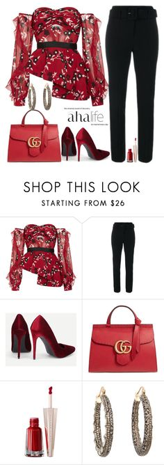 """AHA MOMENT!!"" by fashionme ❤ liked on Polyvore featuring self-portrait, Theory, Gucci and MUNNU The Gem Palace"