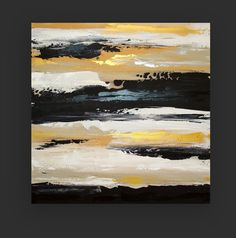 "Black and Gold Original Acrylic Abstract Painting on Gallery Canvas Fine Art Titled: New Year's Eve 30x30x1.5"" by Ora Birenbaum"