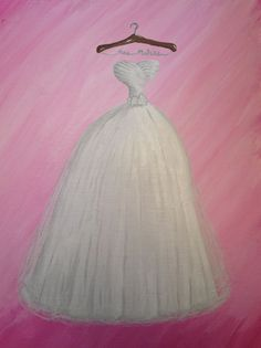 Creative bridal shower gift! Wedding dress painting Gift Wedding, Wedding Cards, Velvet Bridesmaid Dresses, Wedding Dresses, Painted Canvas, Canvas Art, Just Married, Getting Married, Painting Shower