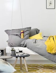 room-to-dream store - grey and yellow bedding
