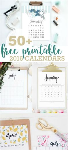 50+ free printable 2016 calendars. The ultimate roundup of 2016 calendar free printables!!