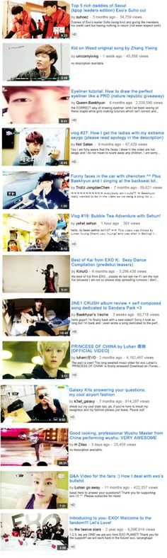 If EXO had YouTube accounts #EXO (credits go to the creator exhao) Also, can I do funny faces with Chen in the car?