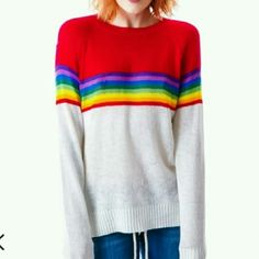 New Wildfox Ski Lodge Mini 70's Sweater Rainbow New With Tags  From my own personal collection, I am original owner and paid about full price for this Wildfox  White Label (NO WOOL)  Ski Lodge Mini 70's Sweater  Classic Fit Retro Rainbow Striped Design w/ White Bottom  Soft Cotton Blend,  Mixed with Acrylic  Tightly knitted,  soft and silky Crew neck Long sleeves with ribbed hems Tagged S,  would also fit XS  Never hung, except for pictures Shows front and back No stains, flaws, snags…