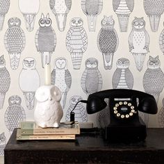 {owls of the British Isles wallpaper} by Abigail Edwards - I would like to hang this in my foyer, so much fun!