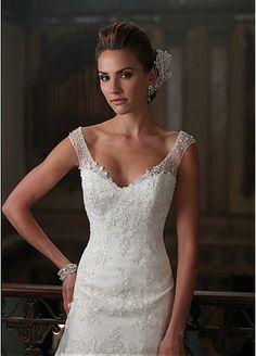 Delicate Satin & Sequins mesh V-neck Neckline Trumpet Wedding Dress With Lace Appliques
