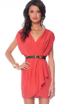 New Colors on the Block Belted Dress in Coral $33 at www.tobi.com