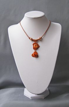 https://flic.kr/p/JLFg24 | RUNE NECKLACE | Unique necklace made of natural cabochon by operculum astrea rugosa, non-tarnish copper wire, natural leather cord and fimo elements with copper-plated porcelain spheres and copper accessories