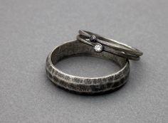 white diamond black diamond wedding ring engagement ring stackable wedding rings ring simple modern wedding simple sterling silver. $380.00, via Etsy.