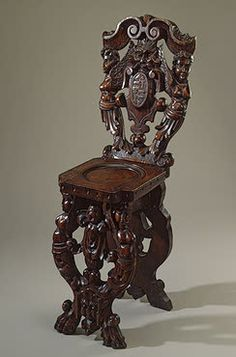 Scabello Chair with Coats-of-Arms and Mascarons   Italy. Second half of the 16th century