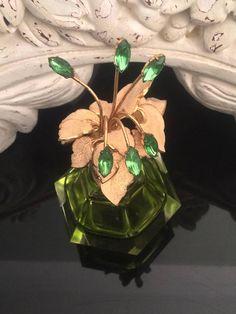Vintage Irice Flower Top Perfume Bottle West Germany / Green