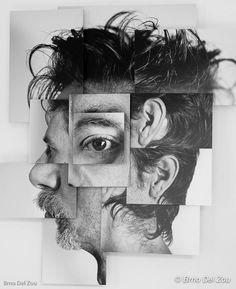 Photosculptures - Portrait Sculpture Photo Series by Brno Del Zou Portrait Picasso, L'art Du Portrait, Collage Portrait, Abstract Portrait, Portraits Cubistes, Cubist Portraits, Creative Portraits, Portraits From Photos, Portrait Sculpture