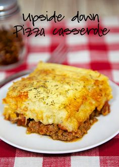 Upside Down Pizza Casserole Recipe - quick pizza casserole with the crust baked on top. Use your favorite pizza toppings. It was gone in a flash! Great change to regular pizza.