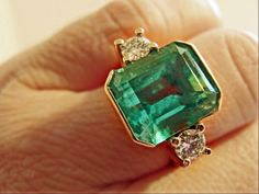 7 35cts AAA Natural Colombian Emerald Ring with Diamonds Accents 18K Yellow Gold | eBay