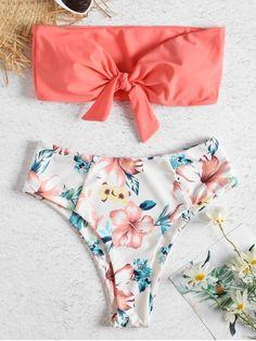 Bandeau High Waisted Floral Bikini - WATERMELON PINK L