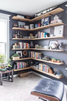 Masculine Home Office Home Tour. Modern classic home tour of a masculine home office with simple, stylish decorations. Home Library Design, Home Office Design, House Design, Home Library Decor, Office Designs, Home Office Setup, Home Office Space, Office Ideas, Desk Space