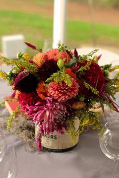 October centerpiece of dahlias in an antique tin #WishBigWinBigGiveaway, #wedding #registry