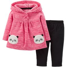 Child of Mine by Carter's Newborn Baby Girl Hooded Microfleece Outfit Set