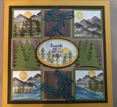 Stampin up waterfront sampler Box Frame Art, Shadow Box Frames, Collage Frames, 3d Frames, Fundraising Crafts, Christmas Shadow Boxes, Cool Cards, Stampin Up Cards, Making Ideas