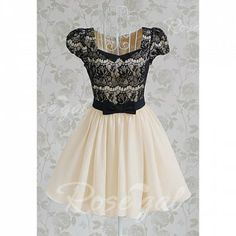 199a59de9382 Vintage Sweetheart Neckline Lace Splicing Bow Short Sleeves Dress For  WomenVintage Dresses